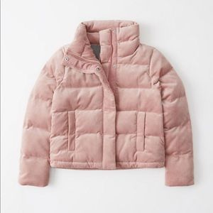 NWOT Abercrombie Velvet Puffer Coat Light Pink XS